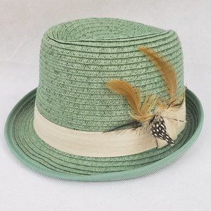 H&M Divided Straw Fedora Feathers Women's